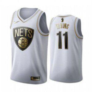 NBA Shirts - Brooklyn Nets Kyrie Irving White Gold Jersey